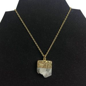 Yochi Quartz Crystal Dipped Gold Tone Necklace